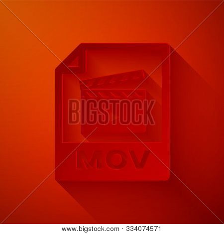 Paper Cut Mov File Document. Download Mov Button Icon Isolated On Red Background. Mov File Symbol. A
