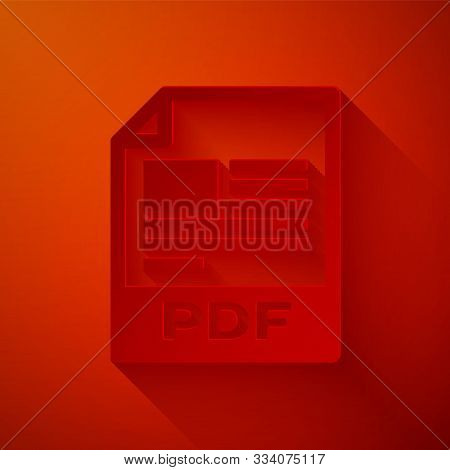 Paper Cut Pdf File Document. Download Pdf Button Icon Isolated On Red Background. Pdf File Symbol. P