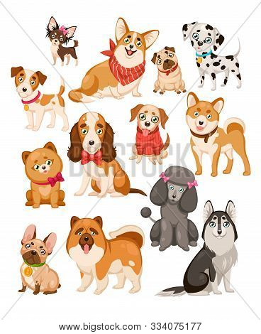 Happy Dogs. Cute Puppy Sitting Or Standing Pets And Home Funny Animals Cartoon Isolated Dog Vector S