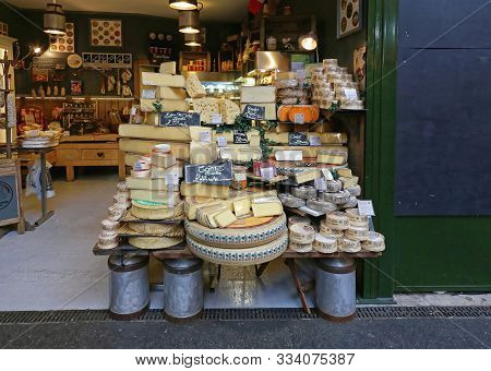 London, United Kingdom - November 20, 2013: Big Selection Of Cheeses For Sale In Cheese Shop At Boro
