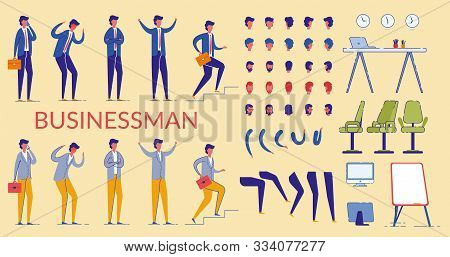 Businessman Character Constructor Flat Cartoon Vector Illustration. Front, Side, Back View Animated