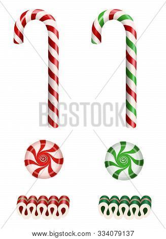 Set Isolated Christmas Candies With Candy Canes, Ribbon Candies And Starlight Peppermint Candies