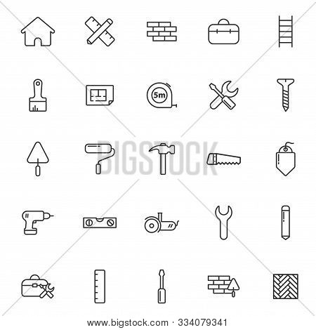 Construction And Repair Outline Vector Icons Set Isolated On White Background. Construction And Repa