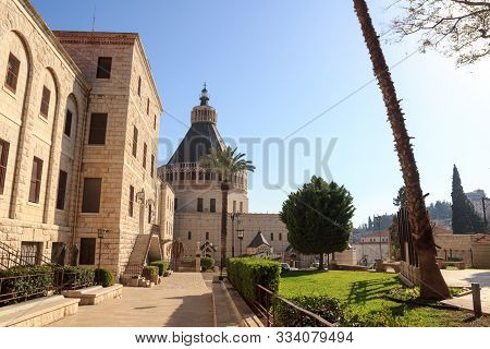 Garden Of The Basilica Church Of The Annunciation In Nazareth, Israel