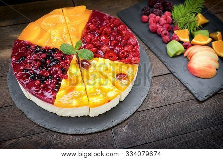 Creamy Fruit Cake Rich With Fruit And Cream, A Delicious Treat For Any Celebration