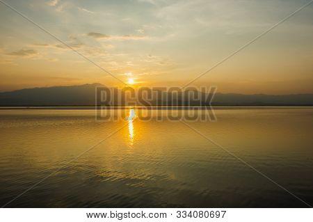Beautiful Sunset At The Big Lake At Phayao (kwan Phayao), Phayao, Thailand