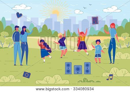 Flat Banner Dance Classes For Children In Nature. Husband And Wife Are Standing Meadow, Where Childr