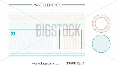 Page Design Elementsset Includes Stripped Blocks, Text Emphasis Circles, Infographic Circle, Divider