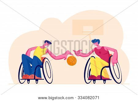 Couple Of Disabled Paralyzed Men Playing Basketball Sitting On Wheelchairs, Paralympic Athletes Trai