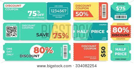 Discount Coupon. Half Price Offer, Promo Code Gift Voucher And Coupons Template. Premium Special Pri