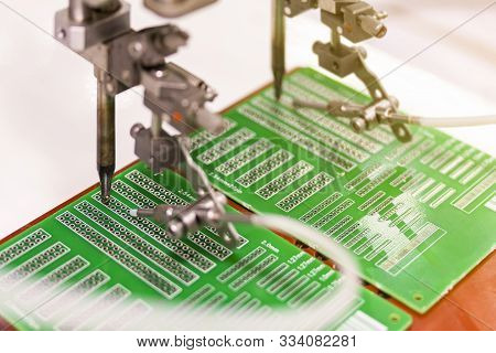 Soldering Iron Tips Of Automated Manufacturing Soldering And Assembly Printed Electric Circuit Board