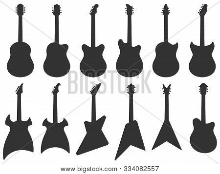 Guitar Silhouette. Acoustic Jazz Guitars, Musical Instruments Silhouettes And Electric Rock Guitar S