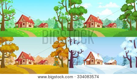 Cartoon House In Woods. Forest Village Four Seasons Landscapes. Spring, Summer, Autumn And Winter Tr