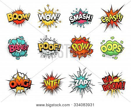 Cartoon Comic Sign Burst Clouds. Speech Bubble, Boom Sign Expression And Pop Art Text Frames. Comics