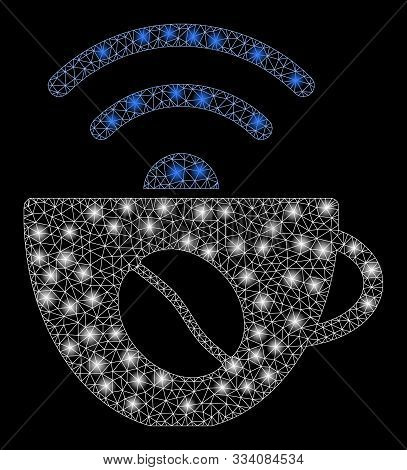 Glossy Mesh Coffee Wifi Source With Glare Effect. Abstract Illuminated Model Of Coffee Wifi Source I
