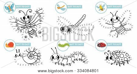 Connect Dots Cartoon Insects Game. Cute Insect Dot To Dot Education Games For Toddlers, Play With Pr
