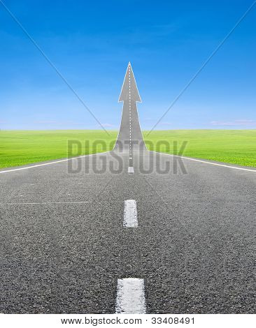 Highway Road Going Up As An Arrow