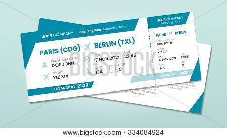 Two Airline Tickets. Airplane Boarding Ticket With Passenger Name, Airlines Flight Invitation And Ai