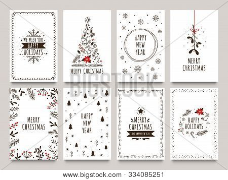 Hand Drawn Winter Holidays Cards. Merry Christmas Card With Floral Ornaments, New Year Tree And Snow