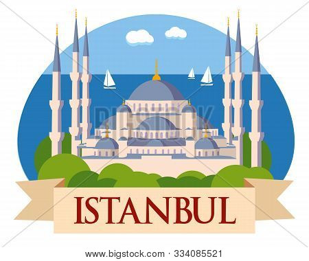 Tourist Picture Istanbul. Old Cathedral On The Background Of The Sea. Vector Graphics