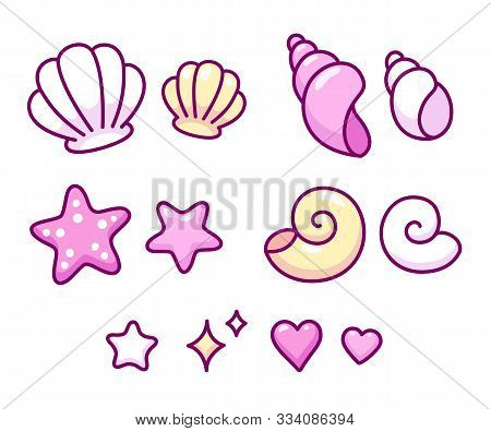 Cute Cartoon Seashell Doodle Icon Set. Hand Drawn Sea Shells, Conches, Cockleshells And Starfish. Is