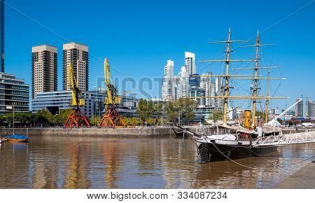 Buenos Aries, Argentina, - April, 20, 2019: The Waterfront (puerto Madero) In Buenos Aires, Argentin