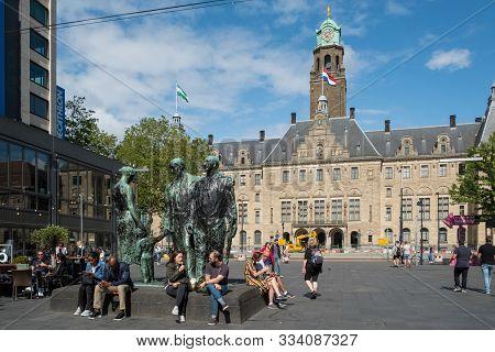Rotterdam, Netherlands - July, 7 2019: People On Stadhuisplein, Rotterdam With The Town Hall (stadhu