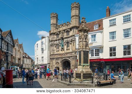 Canterbury, Uk, - July, 11, 2019: Christ Church Gate, Canterbury Cathedral, Kent, England.