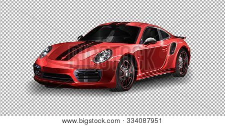 Detroit - January 11: Vector Illustration Porsche Gt2 At The Motorshow On Transparent Background, Ra