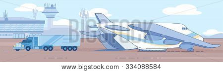 Loading, Unloading Truck In Cargo Plane On Airport Runaway Flat Vector Illustration. International D