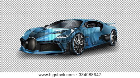 Frankfurt, Germany - September 12, 2017: 2017 Bugatti Chiron Vector Illustration On Transparent Back