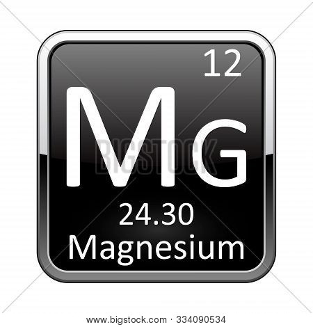 Magnesium Symbol.chemical Element Of The Periodic Table On A Glossy Black Background In A Silver Fra