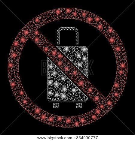 Flare Mesh No Baggage With Glitter Effect. Abstract Illuminated Model Of No Baggage Icon. Shiny Wire