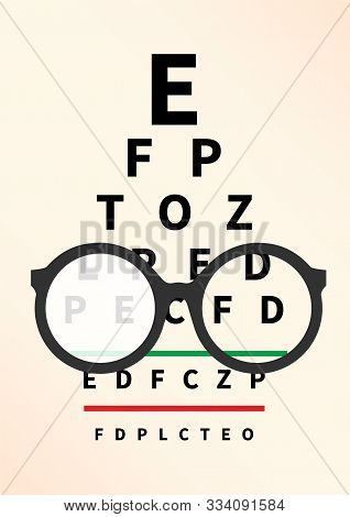 Eye Glasses With Eye Chart. Optician, Vision Of Eyesight Vector Illustration
