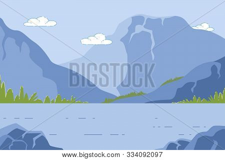 Mountain Landscape With Pond, Summer Time Nature With Beautiful Hills, Lake And Stone Rocks With Gra