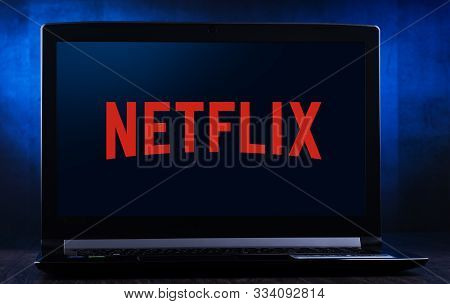 Poznan, Pol - Nov 14, 2019: Laptop Computer Displaying Logo Of Netflix, An American Media-services P
