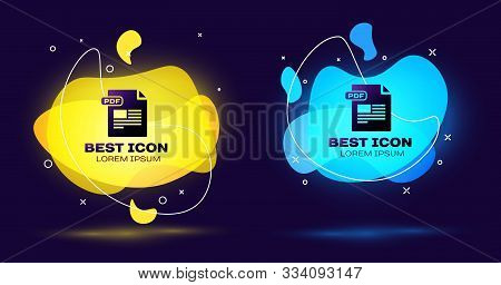 Black Pdf File Document. Download Pdf Button Icon Isolated On Dark Blue Background. Pdf File Symbol.