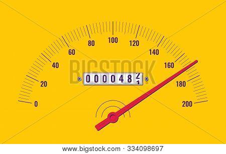 Car Speedometer Dashboard. Speedometer Panel With Odometer. Vector Illustration
