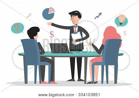 Business Meeting In Conference Room Vector Isolated Web Banner Design. Man Make Presentation In Offi