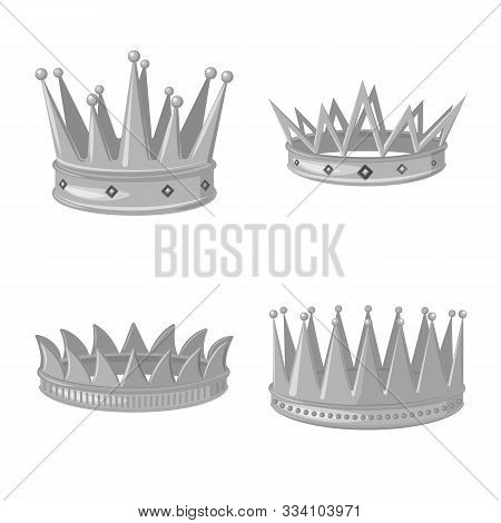 Isolated Object Of Jewel And Vip Logo. Set Of Jewel And Nobility Stock Symbol For Web.