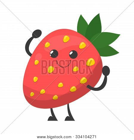 Happy Strawberry Character With A Face Vector Isolated. Red Berry