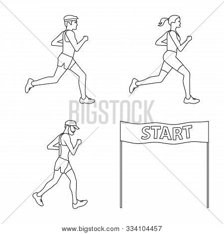 Vector Design Of Exercise And Sprinter Icon. Collection Of Exercise And Marathon Stock Symbol For We
