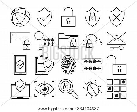 Privacy Line Icon Set Vector Isolated. Safety And Protection