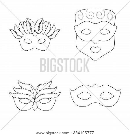Vector Design Of Masquerade And Mystery Logo. Collection Of Masquerade And Festival Stock Symbol For