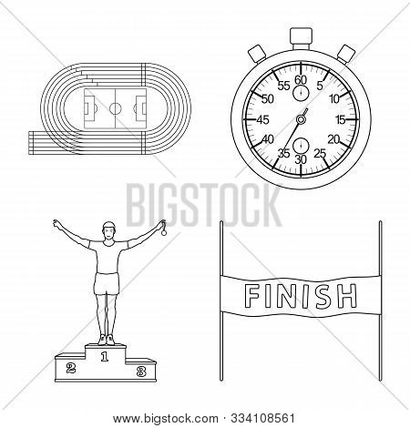Vector Illustration Of Exercise And Sprinter Icon. Set Of Exercise And Marathon Stock Symbol For Web