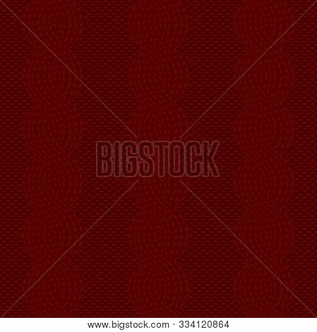 Seamless Cable Knit Dark Red Pattern. Christmas Backgroung