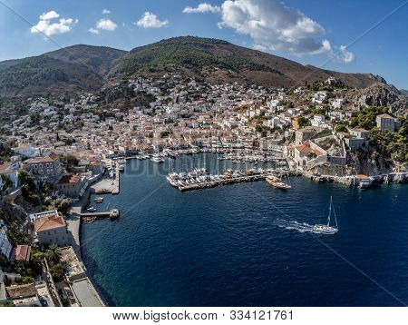 Aerial View Of Hydra Town In Hydra Island
