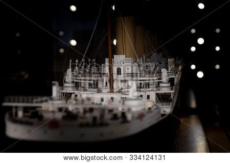 Belfast, Northern Ireland, December 19, 2018: Close Up View Of The Model Of Titanic In The Belfast C