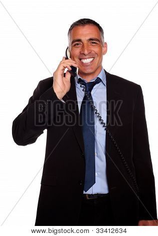 Attractive Broker Laughing On Phone