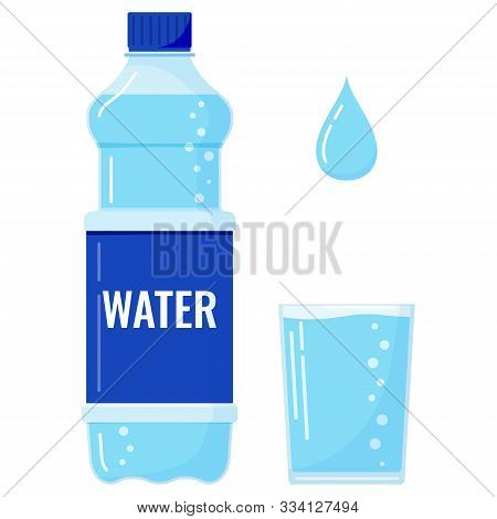 Plastic Bottle Of Water With Bubbles, Full Glass Of Water And Water Drop Icon Set Isolated On White